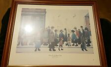 L.S. Lowry painting waiting for the shops to open well kept rare mass price drop