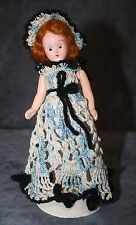 Vintage Doll with Red Hair and Dressed in Blue Crochet with Hat 7 1/2""