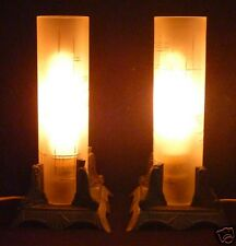 "PR Vintage 9"" ART DECO Style Metal Lamps Tubular Glass Shades Working Boudoir"