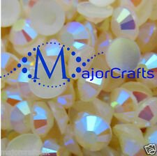 1000pcs Cream Ivory AB 5mm ss20 Flat Back Resin Rhinestones Nail Art Gems C43