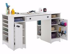 Craft Table with Storage Sewing Wood Art Desk for Adult White Counter Drawers
