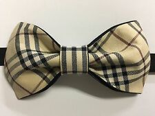 Custom Mens Adjustable Bow Tie from Nova Check Shirt Beige/Black Pre-tied