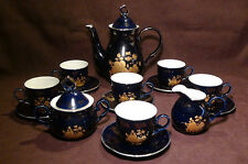 Hass & Czjzek Cobalt Blue Golden Rose China Tea Set, New