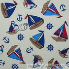 BonEful Fabric FQ Cotton Quilt Yellow Red White Blue S Nautical Sail*Boat Anchor