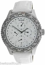 GUESS WHITE CROC LEATHER+SILVER TONE CHRONO INTERNATIONAL,WORLD WATCH W12082G2