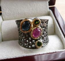 925 SILVER RED RUBY SAPPHIRE CHROME DIOPSIDE BLACK RHODIUM GOLD BAND RING SZ P 8
