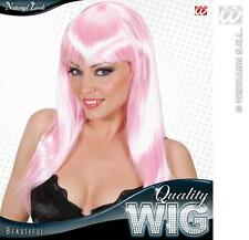 Ladies Long Neon Pink Wig With Fringe Beautiful Diva Lady Gaga Style Fancy Dress