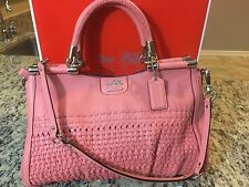 NWOT Coach Madison Leather Woven Carrie 23341 SV/Salmon $698