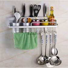 Kitchen Wall Mounted Pantry Storage Rack Organizer Knife Slot Holder Spice Shelf