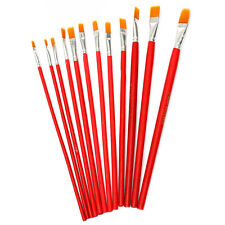 12 Large Flat Tip Oil Fine Decorating Brush Watercolor Painting Drawing Artists