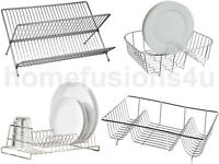 NEW CHROME DISH DRAINER RACK FOR WATER DRIPPING PLATES HOLDER SMALL & FOLDING