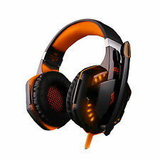 G2000 USB + 3.5mm Stereo PC Gaming Headset Headphones Microphone w/ Orange Light