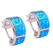 Blue Fire Opal Silver Fashion Women Jewelry Gemstone Hoop Earrings 18mm OH3783