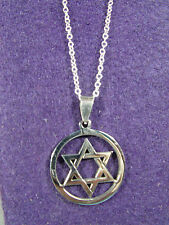 "Stainless Steel Beautiful Star Of David With 20"" plated 925 Silver O Chain (#18)"