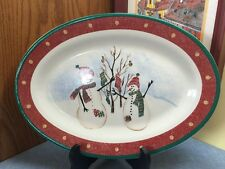 Royal Seasons Christmas Snowmen Stoneware 14 inch SERVING PLATTER