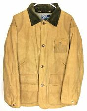 RALPH LAUREN Heavy Waxed Cotton Coat Men Large Tan Beige Hunting Safari Shooting
