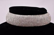STATEMENT LUXURY BRIDAL PROM VINTAGE GLAM FAUX CRYSTAL CHOKER NECKLACE SILVER