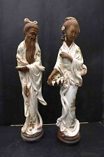 Chinese 1800's large figures of man and woman in traditional dress