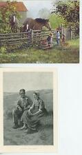 1 LANG HORSE APPLES GOLDEN RETRIEVER DOG CARD & 1 ANTIQUE FARM MAN WOMAN PRINT
