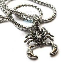 "NEW STAINLESS STEEL SCORPION POLISHED ANTIQUE FINISH PENDANT W/ 24"" CHAIN STD02S"
