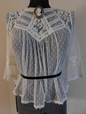 New Free People Mesh Lace Blouse Top in Victorian Style S P