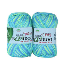 4*50g Skeins Soft Natural Bamboo Cotton Yarn lot;Sport;200g;blue yellow mix