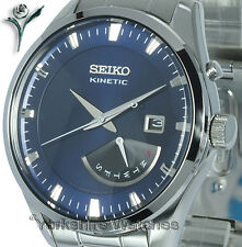 New SEIKO KINETIC DEEP BLUE FACE Day Date STAINLESS STEEL BRACELET SRN047P1