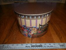 ROUND SEWING /NOTIONS BOX WITH TRAY BY A STITCH IN TIME
