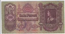 100 Pengo 1930 Hungary STAMP of Waffen SS TOTENKOPF  Very rare banknote RRR !