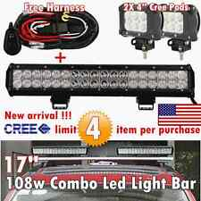 17 inch CREE Led Light Bar + 2X 4inch CREE Pods Off road Pickup Heavy Duty Truck