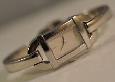 New Gucci Women's YA068536 Swiss Silver Dial Stainless Steel Bangle Watch