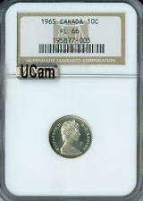 1965 CANADA 10 CENTS NGC PL-66 ULTRA CAMEO 2ND FINEST GRADE SPOTLESS  ,