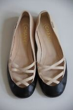 Auth Chanel Black and Light Beige Nude Leather Ballerina Flats FRANCE made 36.5