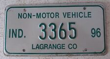 Indiana 1996 LaGRANGE COUNTY NON-MOTOR VEHICLE License Plate HIGH QUALITY # 3365