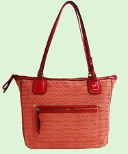COACH 25051 POPPY RED Op Art SIGNATURE Canvas & Leather Tote Bag Msrp $178.00
