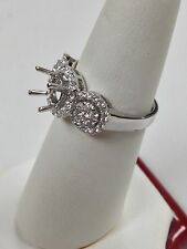 Natural Diamond Halo Semi-Mount Engagement Ring 18kt White Gold
