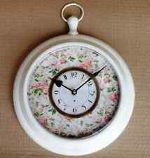 French Style Shabby Chic Cream Metal Pocket Fob Clock Floral - NEW IN BOX