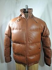 Vintage PHILLIPPE MONET Leather Down Filled Puffer Jacket Size Med