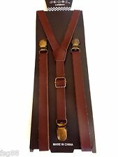 NEW Punk Skinny Brown PU Leather Vintage SUSPENDERS SUPER NARROW 1/2 ""