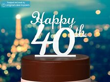 """Happy 40th"" - White - 40th Birthday Cake Topper  - Made by OriginalCakeToppers"