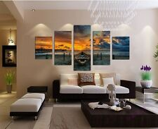 Unframed 5Piece Large HD Seaview Boat Canvas Painting for Living Room Wall Decor