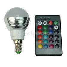 RGB 16 Color Cambiante E14 3W LED Luz Bombilla + IR 24-Teclas Mando a Distancia