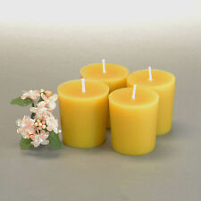 All Natural Pure Beeswax Votive Candles Cotton Wicks Set of 12 - Free Shipping