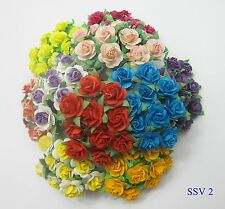 30% SALE SSV2 Mixed Colors Beautiful Mulberry Paper Roses Scrapbooking Flowers