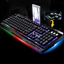USB Wired Gaming Metal Keyboard Multimedia 3 Colors LED Backlight For Computer