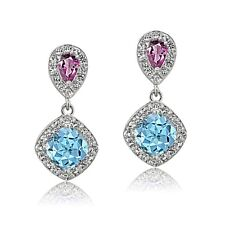 925 Sterling Silver Blue Topaz and Pink Tourmaline and White Topaz Dangle Earrin