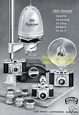 Braun Kamera Reklame von 1954 Nürnberg Paxette Gloriette Gloria Branax Ce Be ßß
