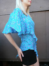 90s top butterfly silk abstract art amazing couture blouse SPLASH PAINT DESIGN