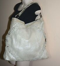 JUNIOR DRAKE OPALESCENT SILVER LEATHER X LARGE TOTE SHOULDER BAG *GUC*