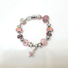 NEW Silver Pink Purple Murano Beads Charm Bracelet Brighton Bay
